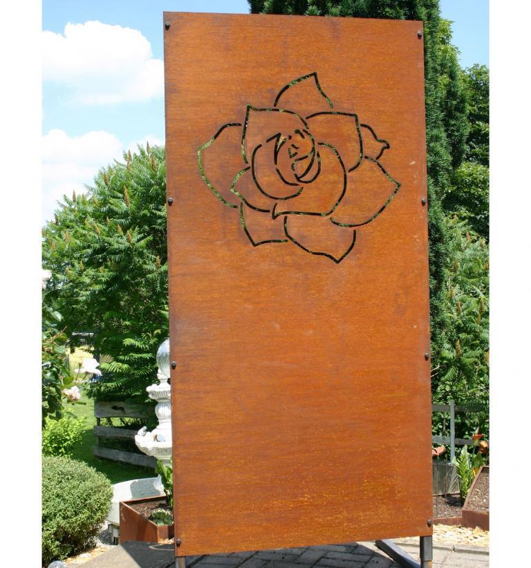 Sichtschutz Edelrost Rosenblüte